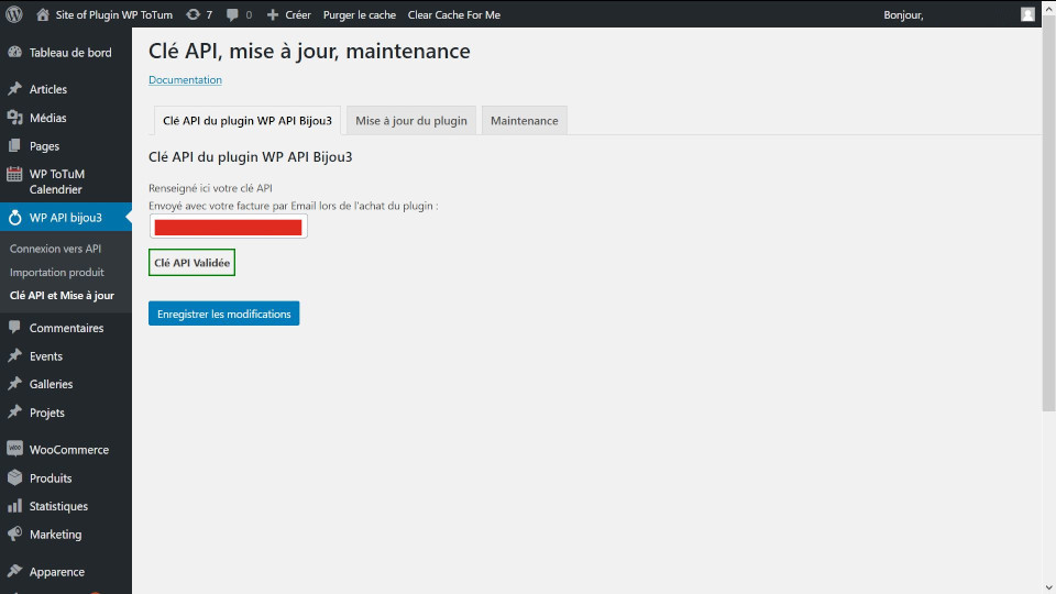 clé api et mise a jour plugin WP API Bijou3
