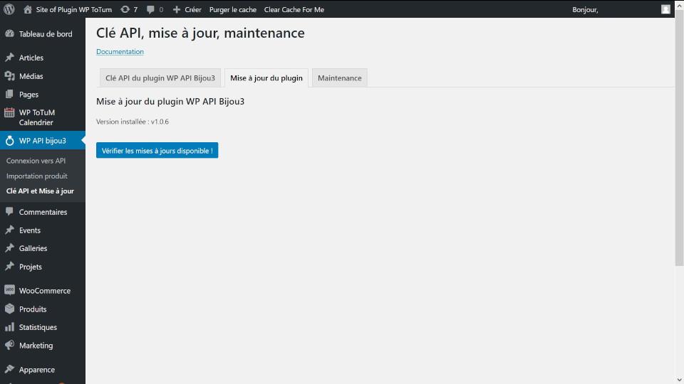 mise a jour plugin WP API BIjou3